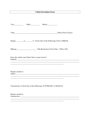 Vehicle Description Form