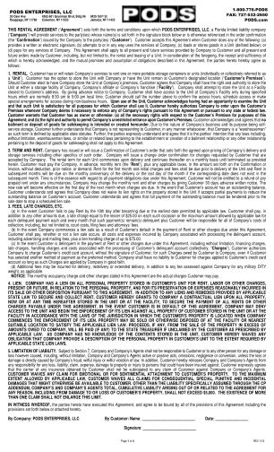 Pods Rental Agreement Form