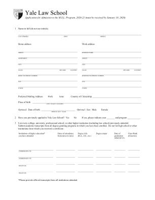 Yale Msl Form