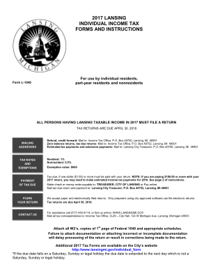 Lansing Individual Income Tax Forms And City Of