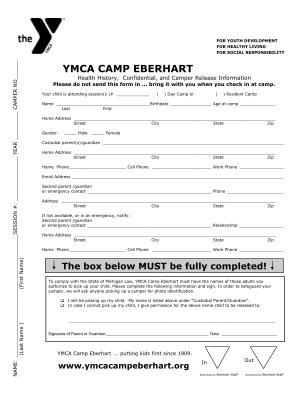 Ymca Camp Eberhart Health Form