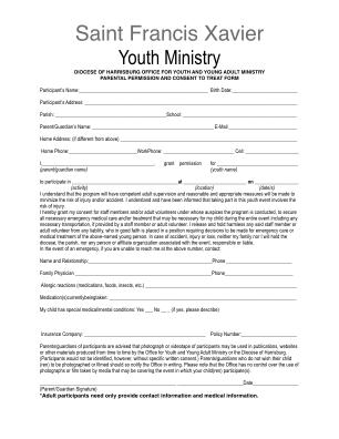 Youth Retreat Permission Slip Form