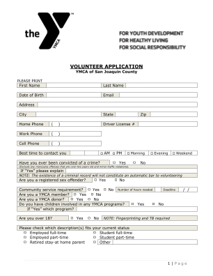 Ymca Application Print Out For Voluntering Form