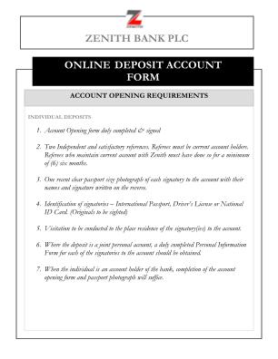Zenith Bank Diaspora Account Form