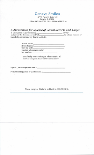 Xray Release Form Dental