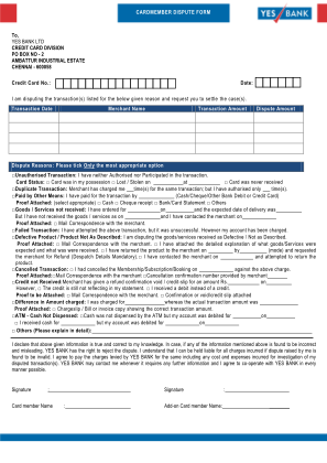Yes Bank Dispute Form