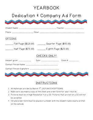 YEARBOOK Dedication Company Ad Form