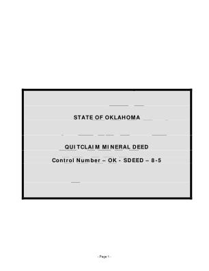 Oklahoma Mineral Deed Form