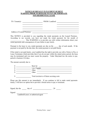 Maryland Notice Of Default In Payment Of Rent As Warning Prior To Demand To Pay Or Terminate For Nonresidential Or Commercial Pr Form