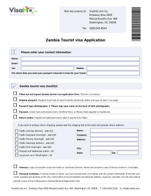 Zambia Tourist Visa Application Zambia Visa VisaHQ Form
