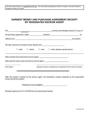 Kansas Earnest Money Agreement Form