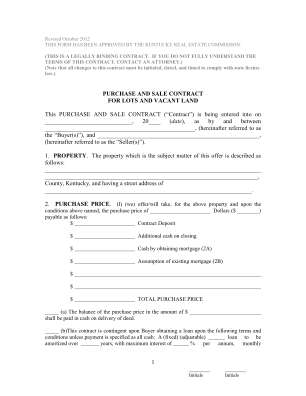 Kentucky Purchase Contract Form