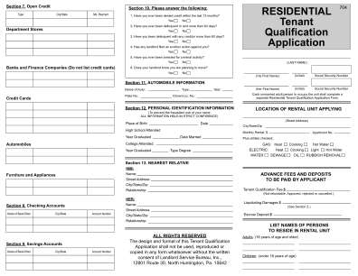 Tenant Qualification Application Form