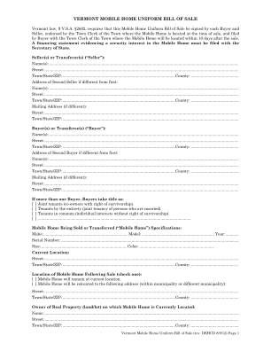 Vt Mobil Home Bill Of Sale Form