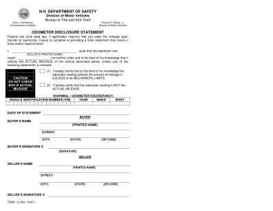 Odometer Disclosure Statement Form Nh