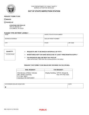 Ohio Out Of State Inspection Form