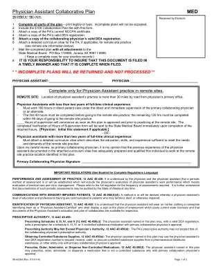 Physician Assistant Collaborative Plan 2014 Form
