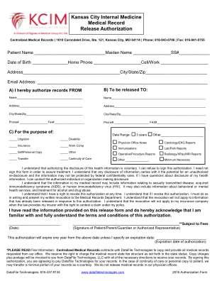 Kcim Medical Records Release Form Kansas City Internal Medicine