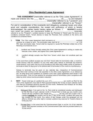 Ohio Residential Lease Agreement Form American Standard Online