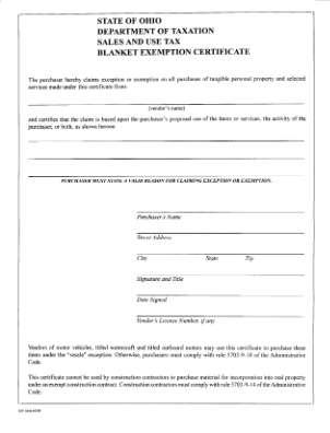 Ohio Sales Tax Certificate Form