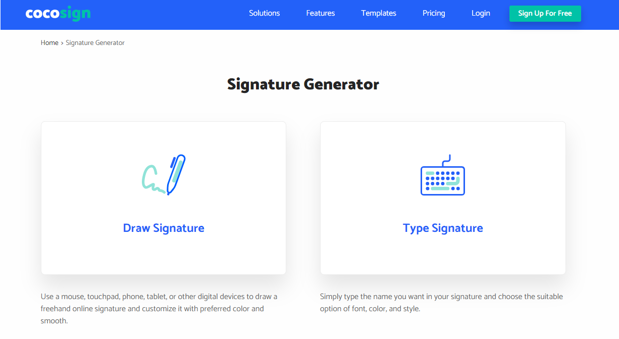 CocoSigns Signature Generator - Ease of Creation