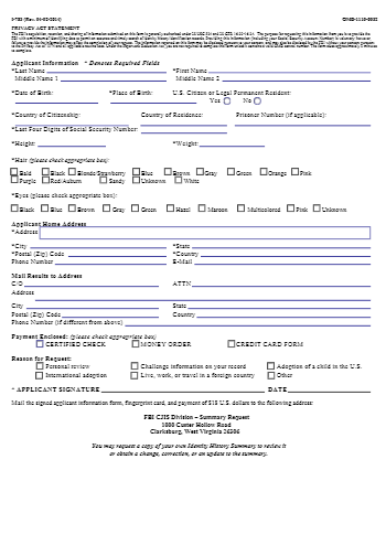 FBI Criminal Background Check Form