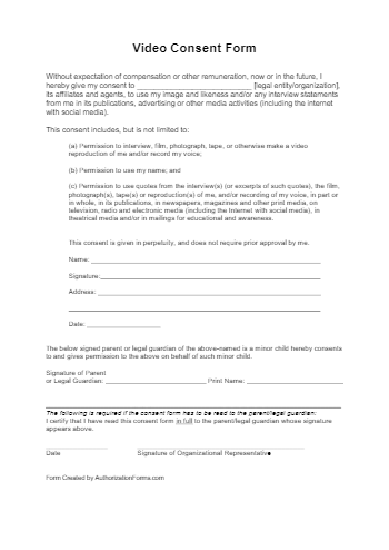 Video Consent Form