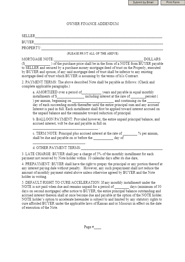 Owner Financing Contract