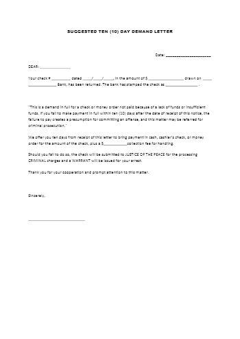 10-Day Demand Letter