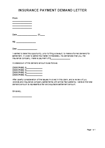 Demand Letter to Insurance Company