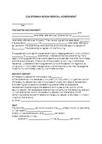 California Room Rental Agreement