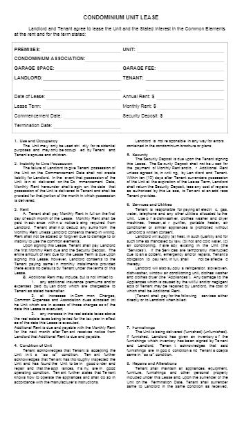 Condo Lease Agreement