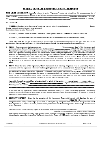 Florida Rental Lease Agreement