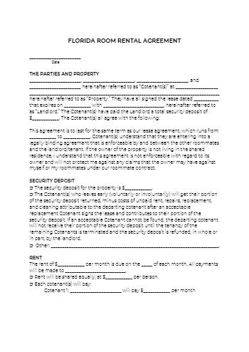 Florida Room Rental Agreement