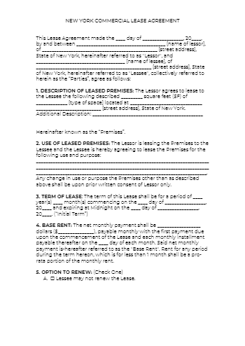 New York Commercial Lease Agreement