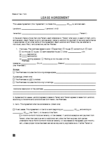 New York Rental Lease Agreement