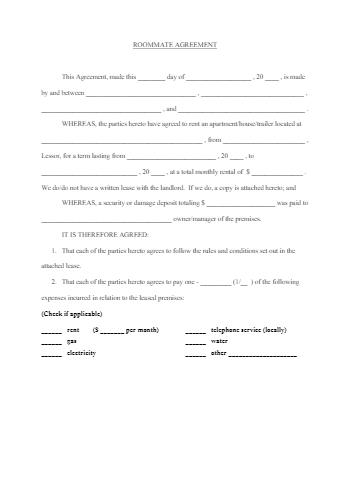 Roommate Rental Agreement