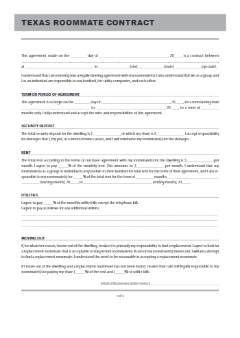 Texas Room Rental Agreement