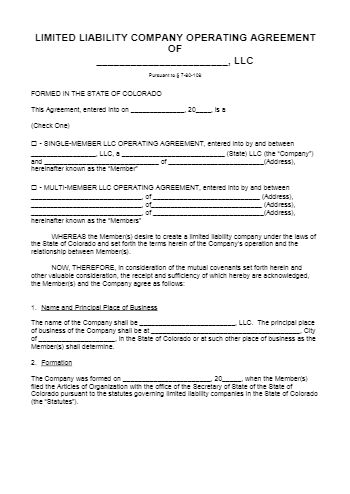 Operating Agreement for LLC Colorado