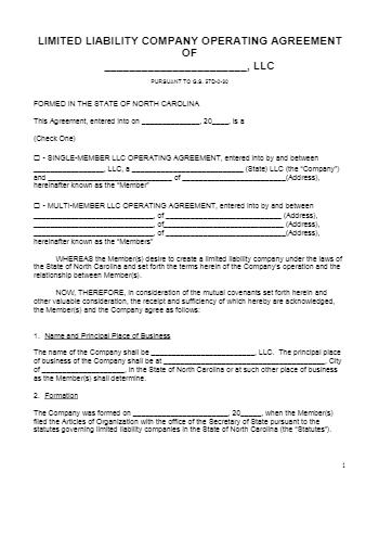 LLC Operating Agreement NC