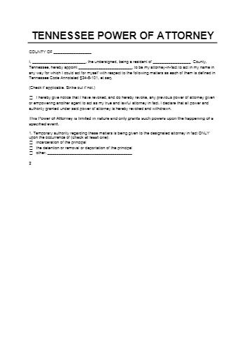 Power of Attorney Form TN
