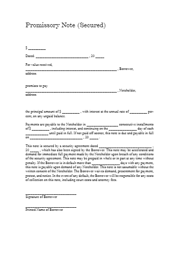 Secured Promissory Note