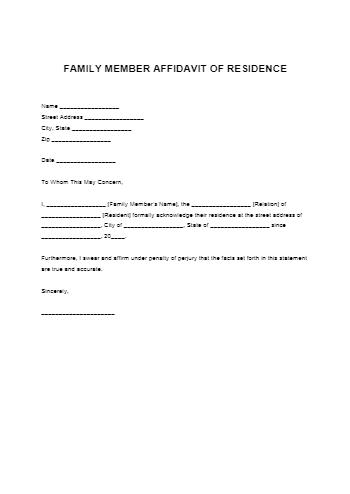 Family Member Proof of Residency Letter
