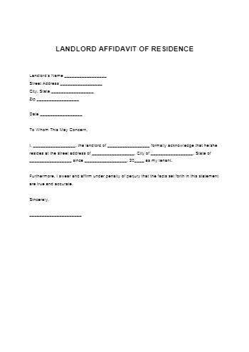 Landlord Proof of Residency Letter