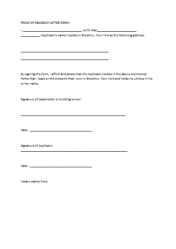Notary Proof of Residency Letter