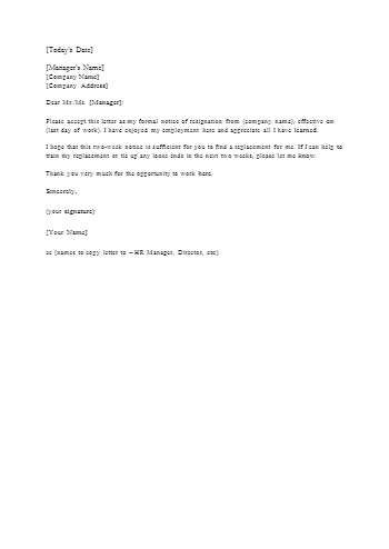 2 Weeks Notice Example Letter from source.cocosign.com