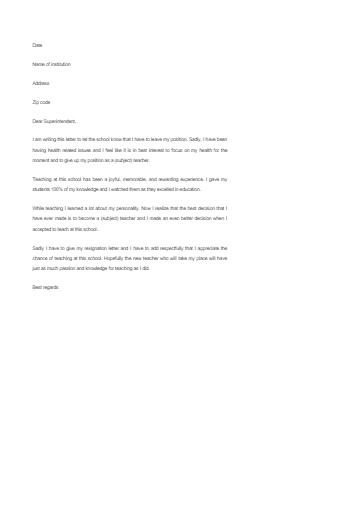 Teacher Resignation Letter