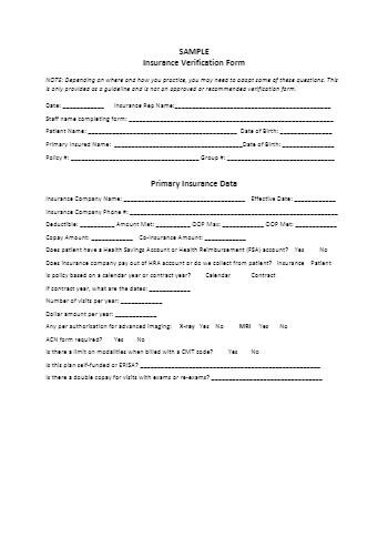 Insurance Verification Form